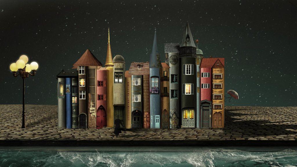 ספרים כבניינים על שפת נהר